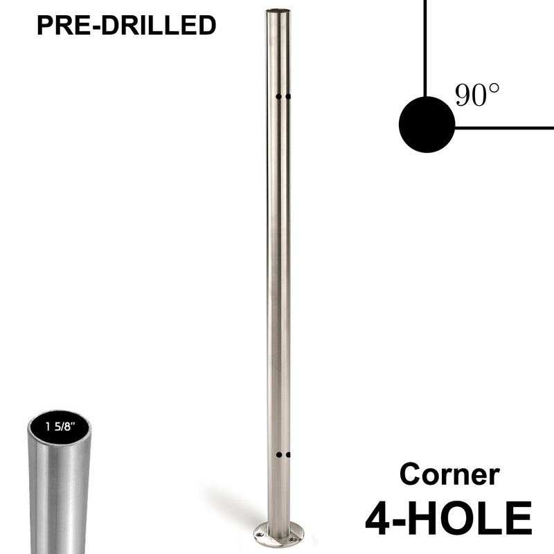 E0042-C4  Pre-Drilled 4 Holes/End Stainless Steel Newel Post
