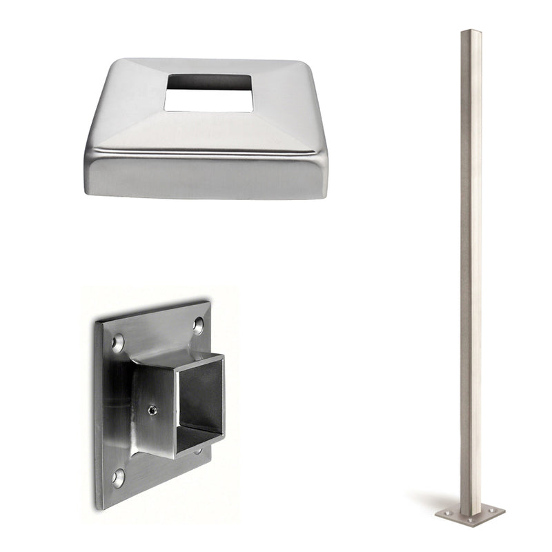 Stainless Steel Square Newel Post, Rail & Wall Anchorage Canopy
