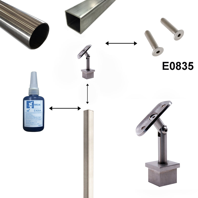 Stainless Steel Adjustable Square Railing Handrail Support