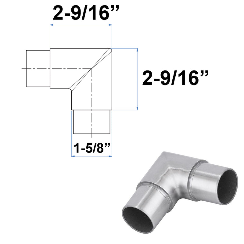 Stainless Steel 90 Degree Sharp Elbow Fitting Connector