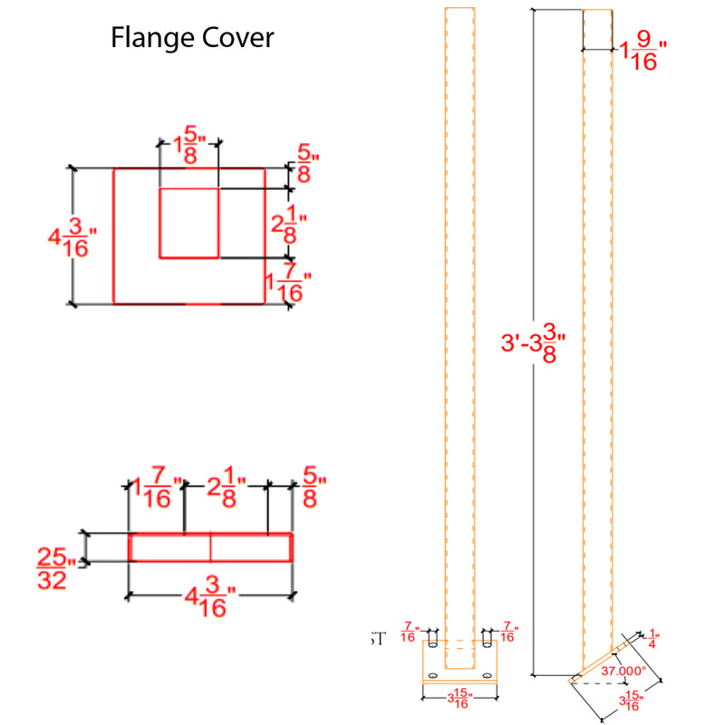 E0032/37/K Angled Rake Square Newel Post