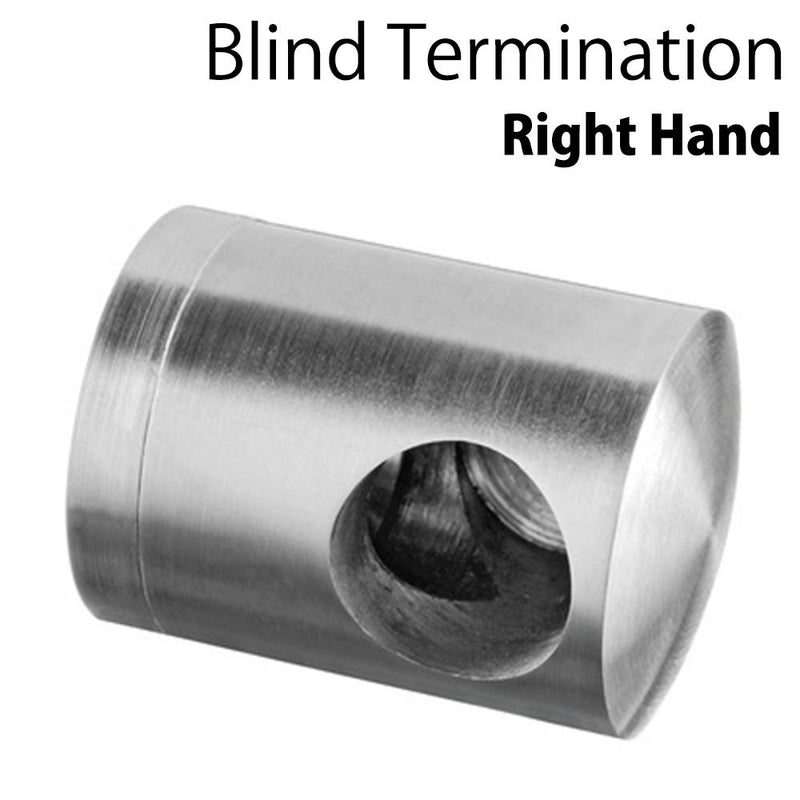 "Round Bar Blind Termination ""Right Hand"" for Flat Surface"