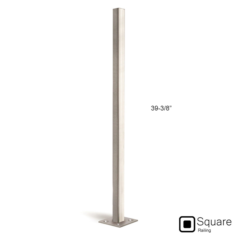 Stainless Steel Floor Mount Square Newel Post