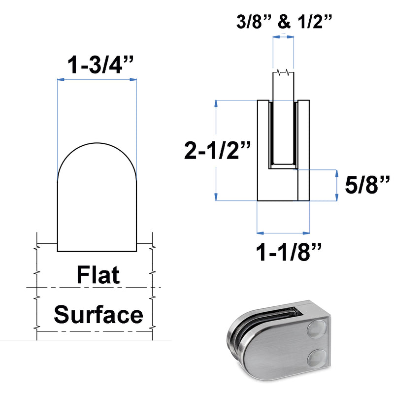 Stainless Steel Rounded Glass Clamp for Flat Surface