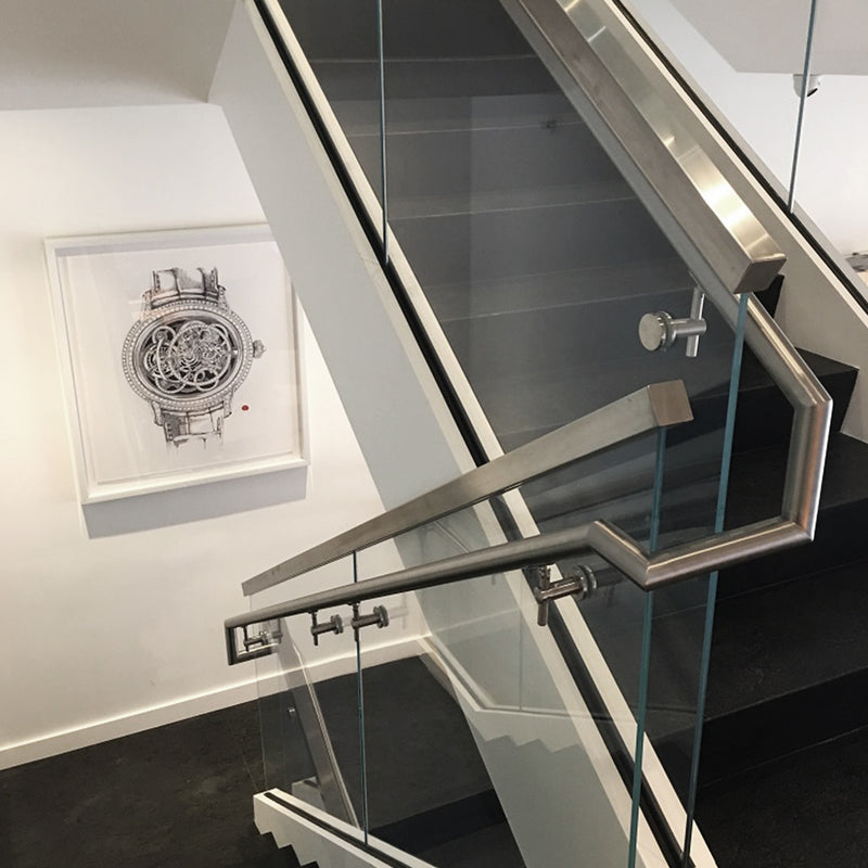 Contemporary Stainless Steel Glass Railing