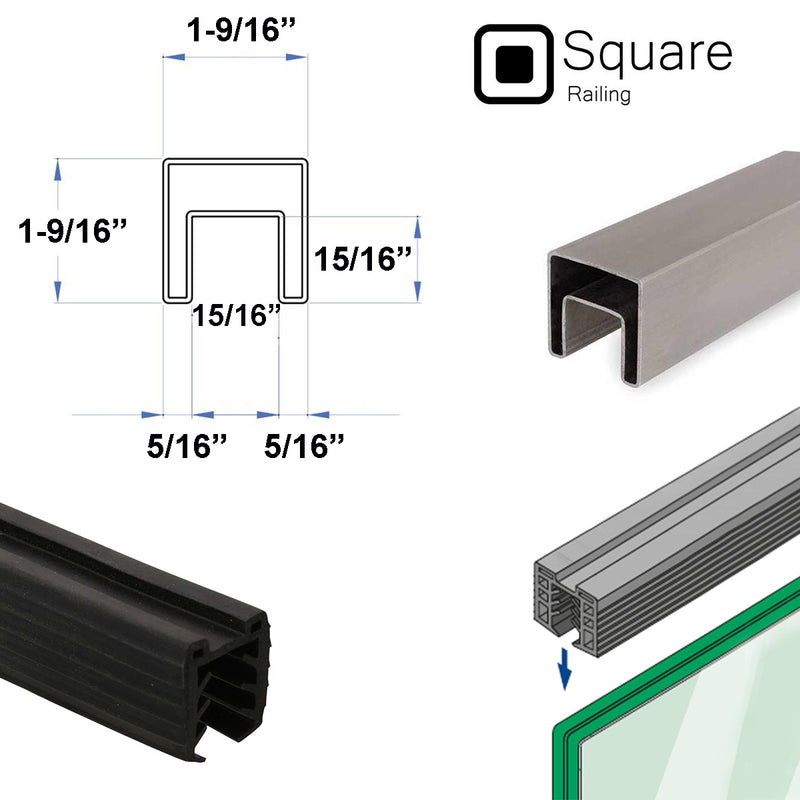 Stainless Steel Square Cap Rail for Glass Railing