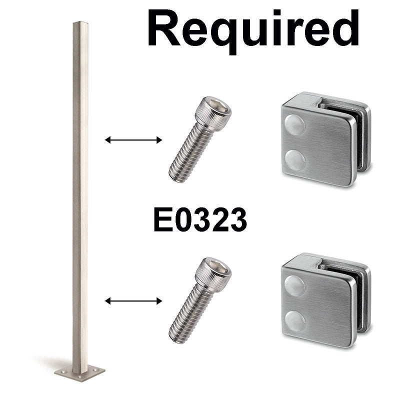 Square Flat Stainless Steel Glass Clamps