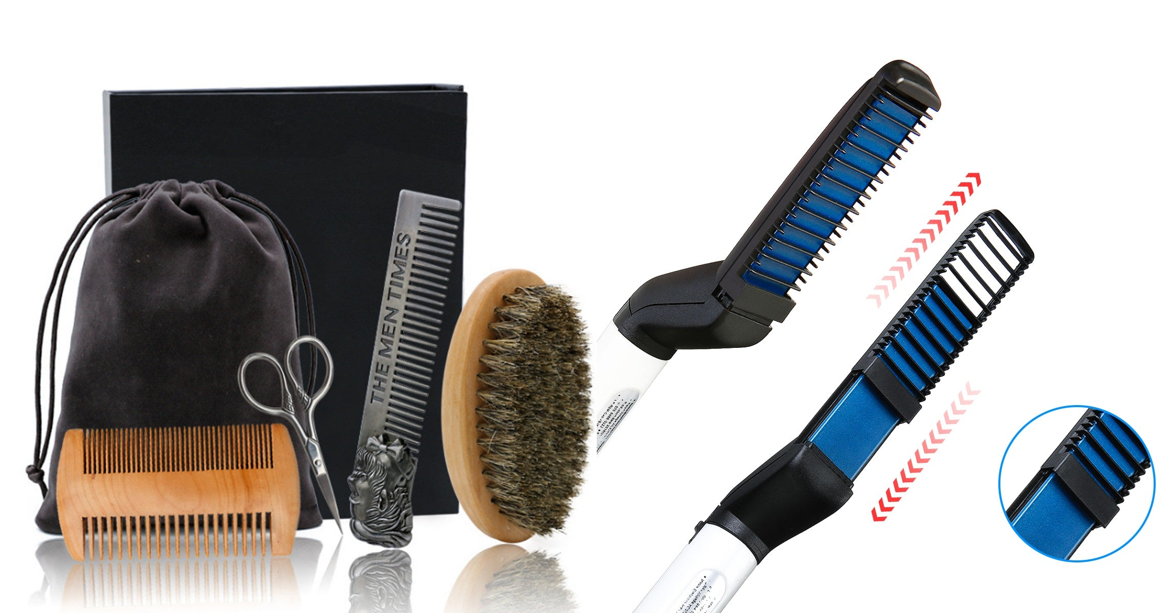 BeardBrah™ Beard Straightener Brush Comb Grooming Kit | Beard Care Products