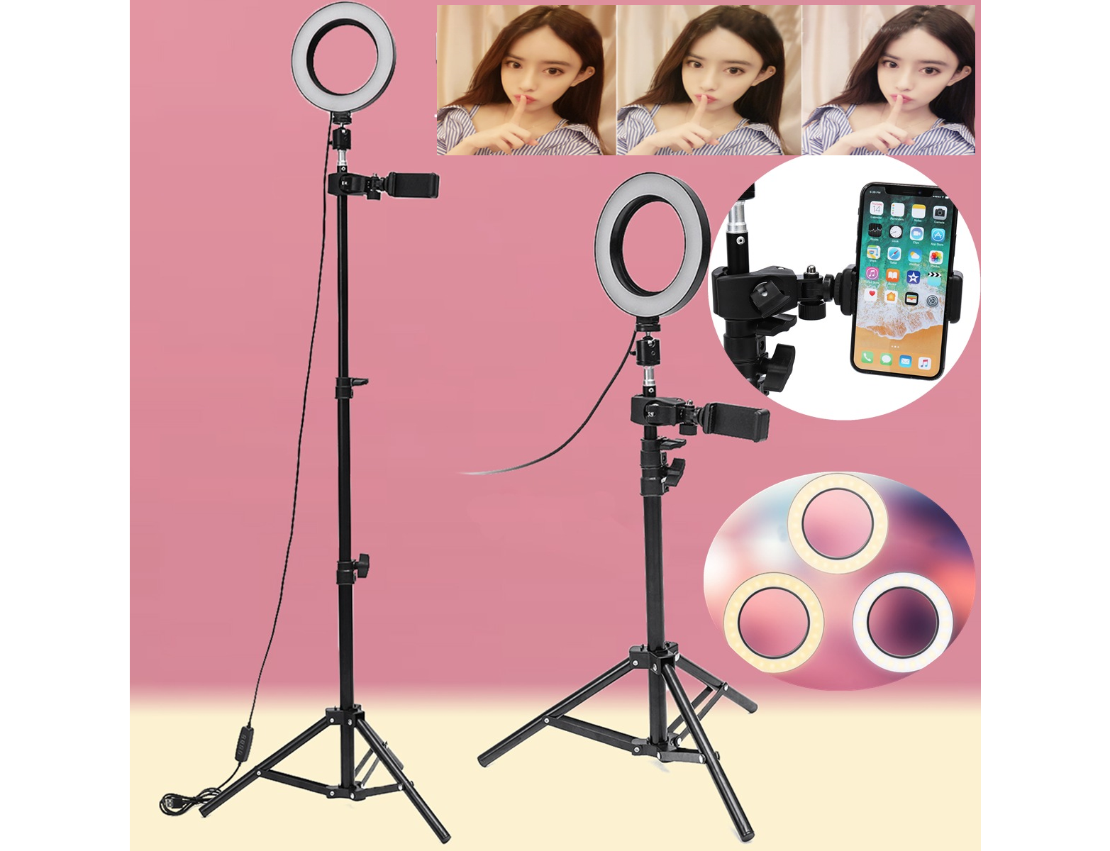 VlogLight™ LED Ring Light With Tripod And Phone Holder Dimmable - Markdown Mart