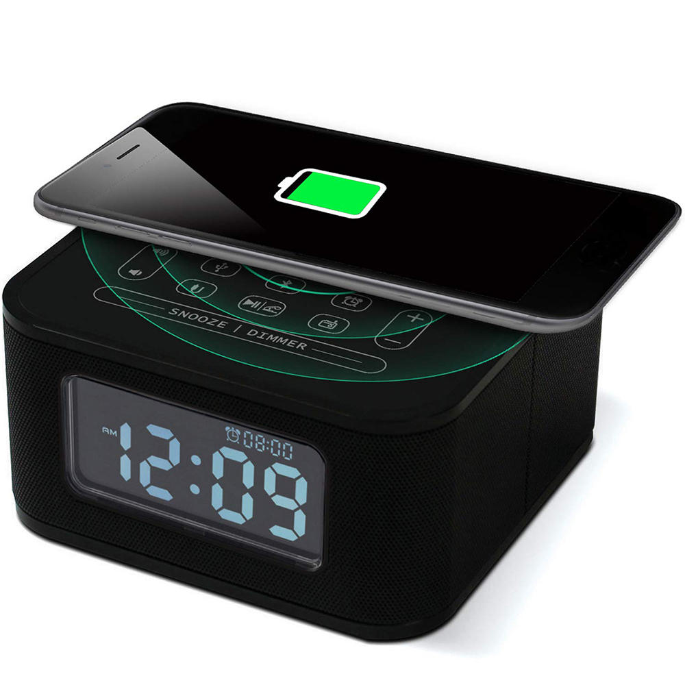 ChargeTunes™ Bluetooth Speaker Wireless Charger Alarm Clock 8 in 1 USB Port Black  Hands-Free Radio - Markdown Mart