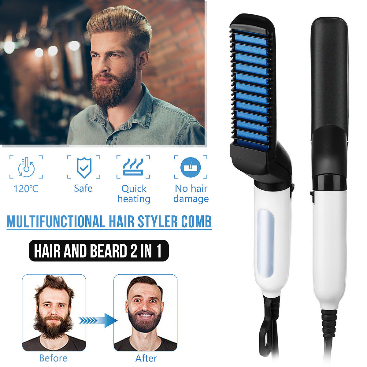 BeardBrah™ Beard Straightener Brush Comb Grooming Kit | Beard Care Products - Markdown Mart