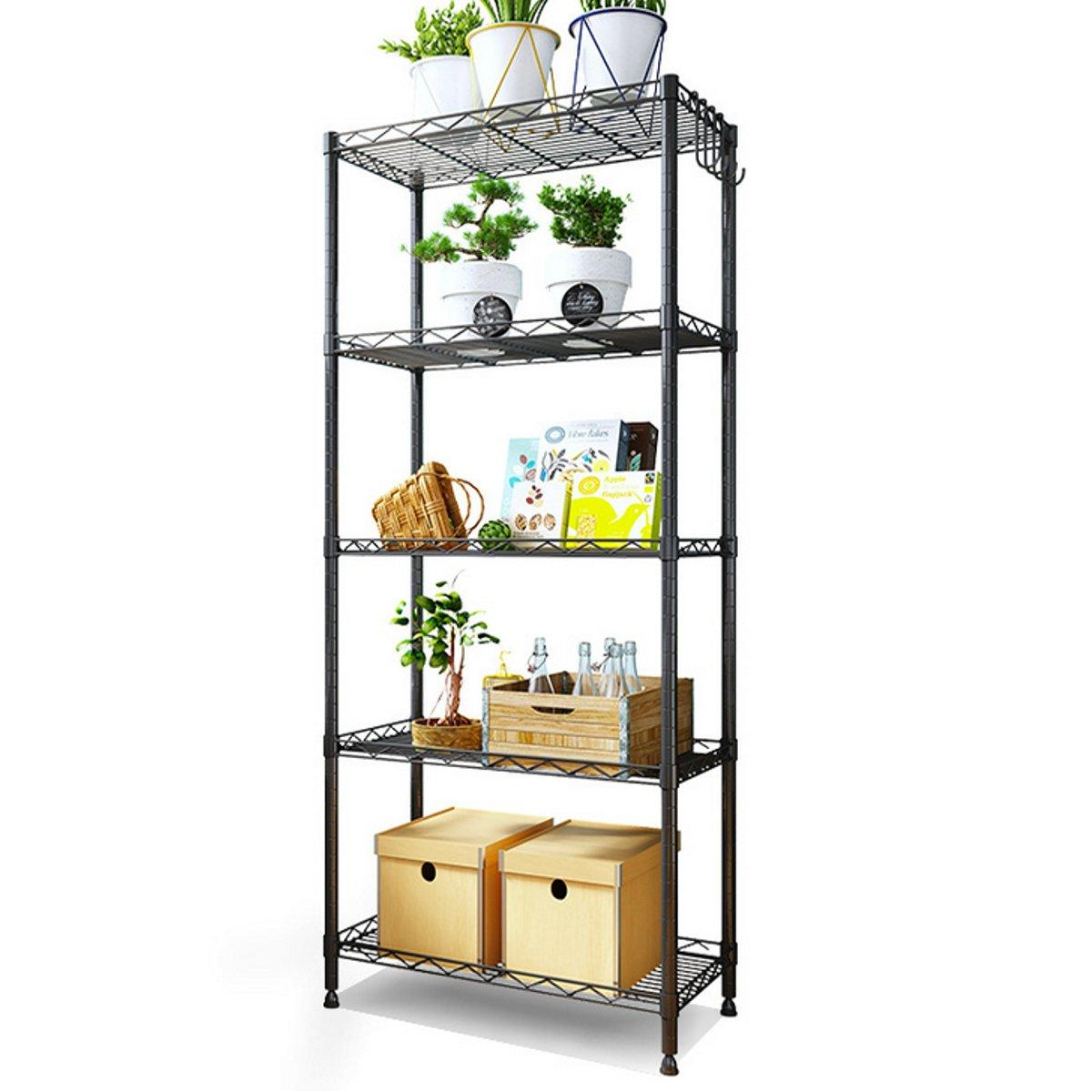 Steel Wire Shelving Unit Garage Storage Shelves Large Black Metal Rack Storage Shelf Organizer Adjustable 5 Tier Heavy Duty Shelf