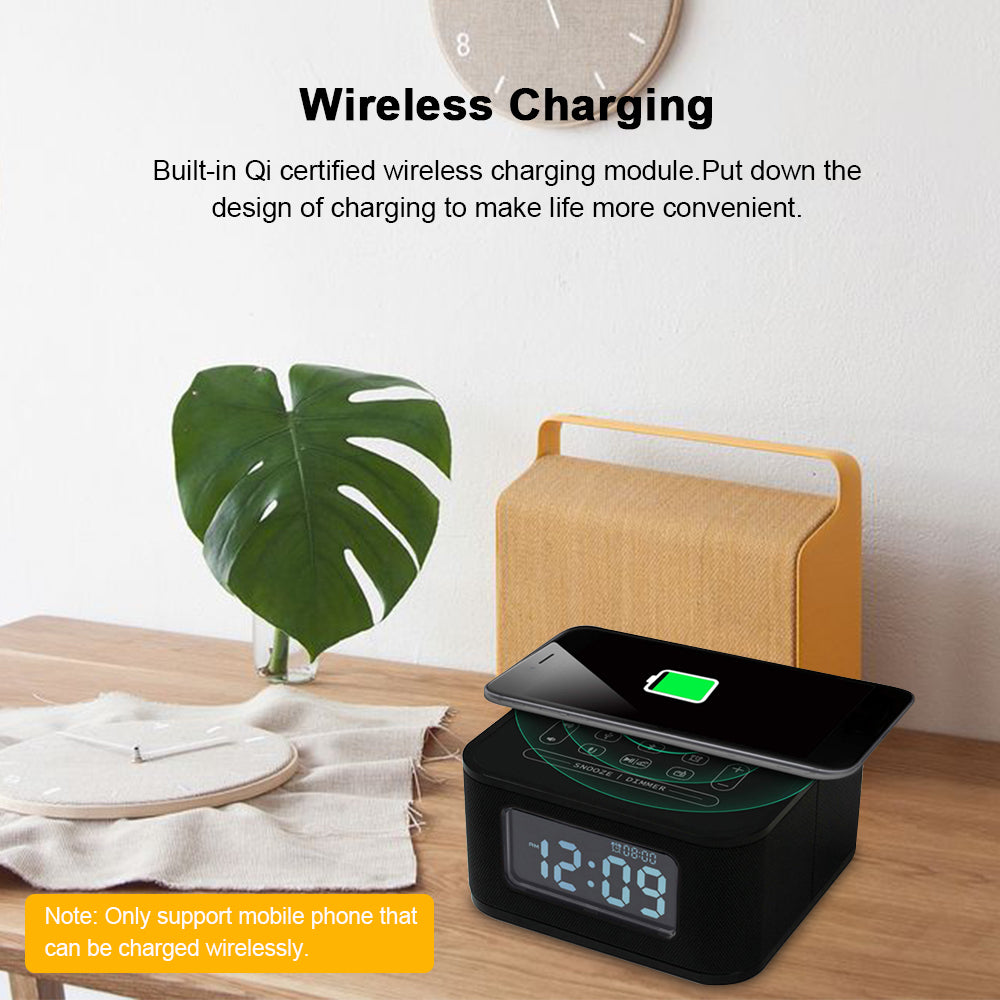 ChargeTunes™ Bluetooth Speaker Wireless Charger Alarm Clock 8 in 1 USB Port Black  Hands-Free Radio