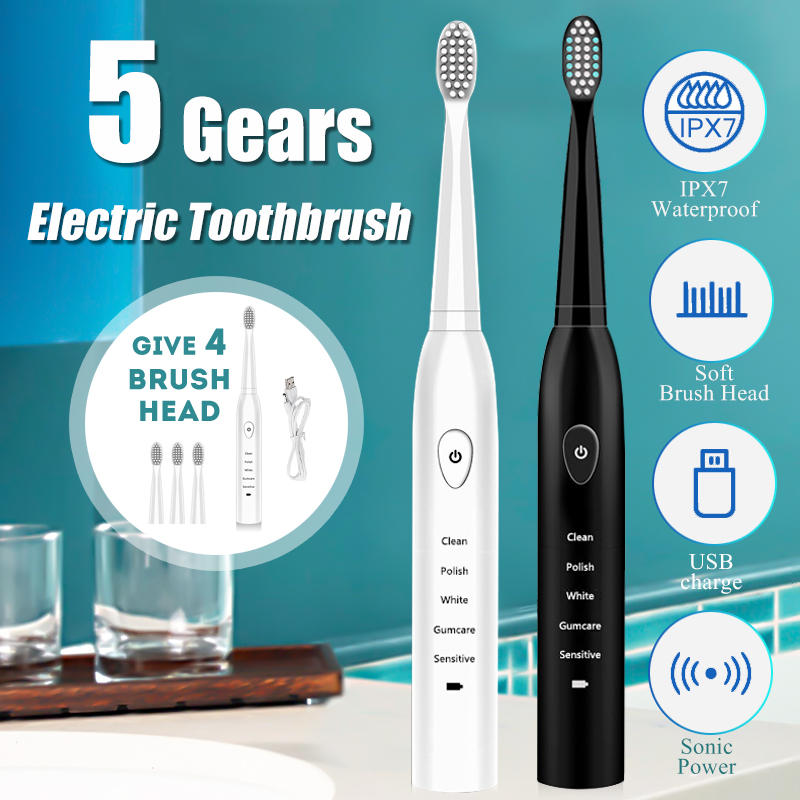 SonicX™ Electric Toothbrush Portable Travel Waterproof 5 Modes Includes 4 Brush Heads And Charger