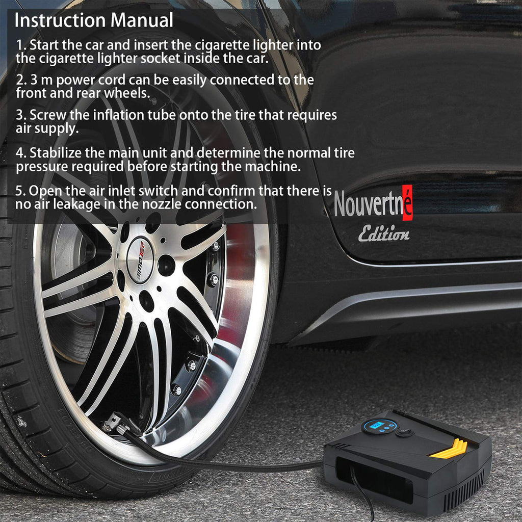 TireMaXPro™ 12V 120W 150PSI Portable Electric Car Tire Inflator Digital Tire Air Compressor Pump Tool - Markdown Mart