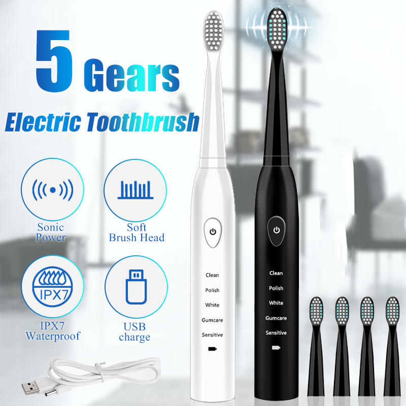 SonicX™ Electric Toothbrush Portable Travel Waterproof 5 Modes Includes 4 Brush Heads And Charger - Markdown Mart