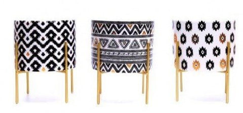 Modern Aztec Footed Candle Pot
