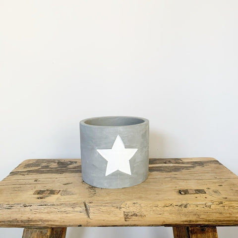 White Star Cement Planter, Small