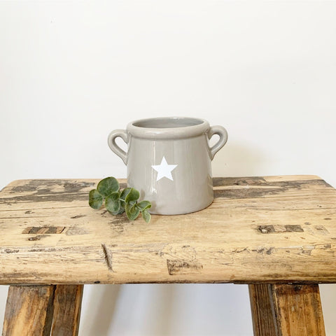 Grey Star Pot With Ears, Small