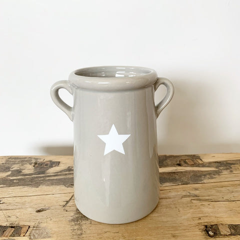Grey Vase with Star 14cm