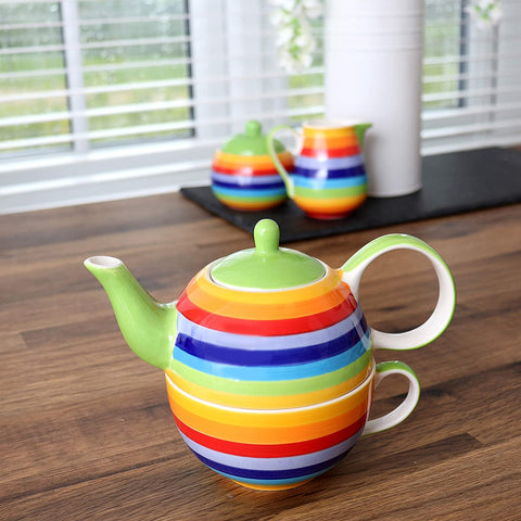 Rainbow Stripe Tea for One