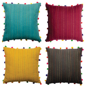 Kantha Cushion With Pom Poms - Wine