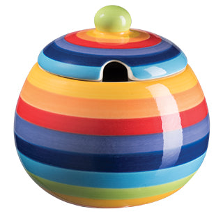 Rainbow Stripe Ceramic Sugar Bowl