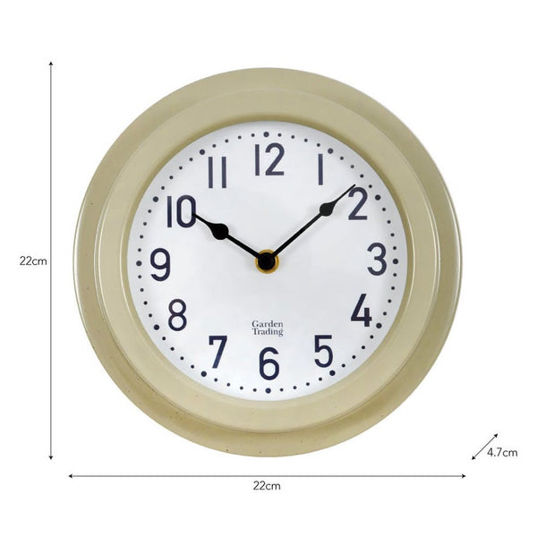 Tenby Clock, 8 Inch in Clay - Steel