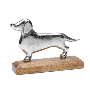 Metal Dachshund on Wooden Base