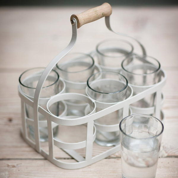 Glass Carrier Set in Chalk
