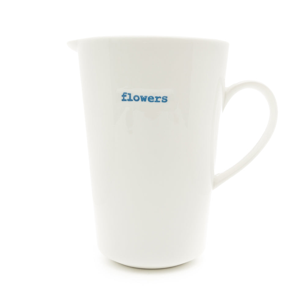 Keith Brymer Jones White Ceramic Jug 1000ml - Flowers