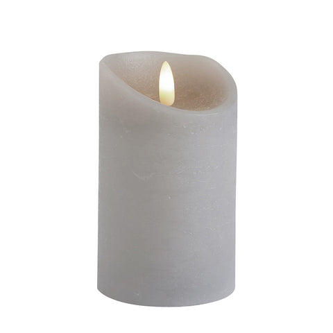 Dancing Flame Grey LED Wax Candle