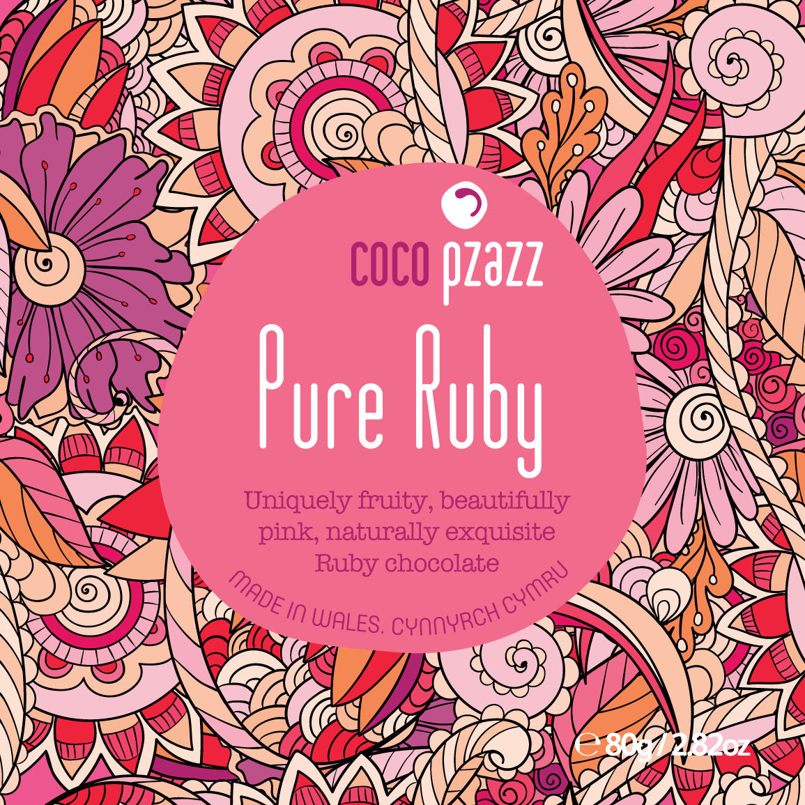 Coco Pzazz Pure Ruby Chocolate Bar 80g