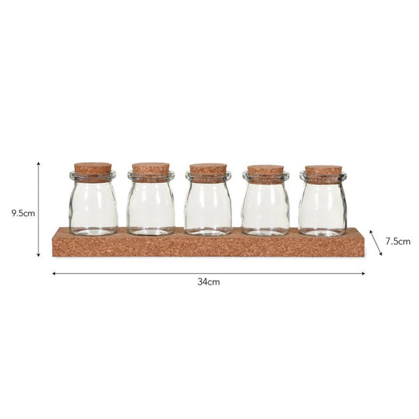 Cork Spice Rack with Five Jars - Glass