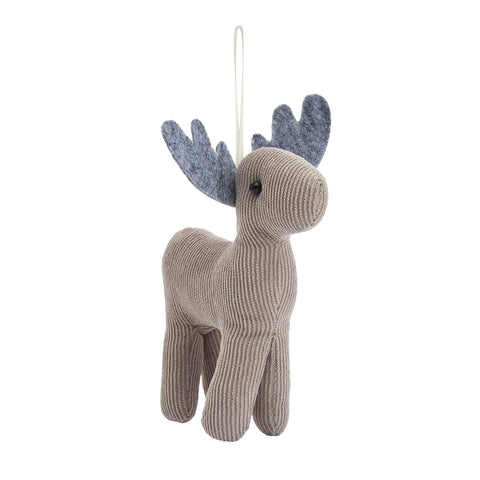 Corduroy Reindeer Decoration 14cm
