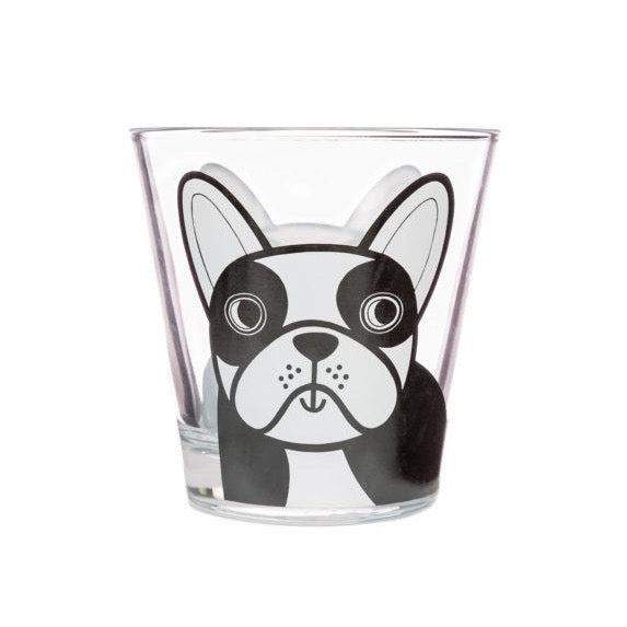 Jane Foster Glass Tumbler French Dog