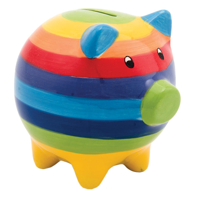 Rainbow Stripe Ceramic Piggy Bank