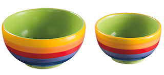 Rainbow Stripe Ceramic 2 Tapas Bowls