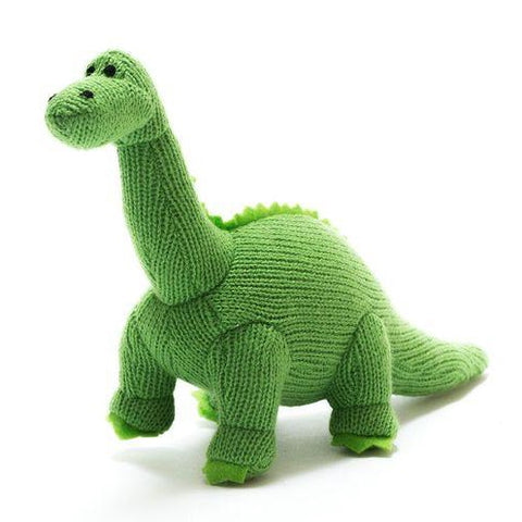 Knitted Green Diplodocus Toy