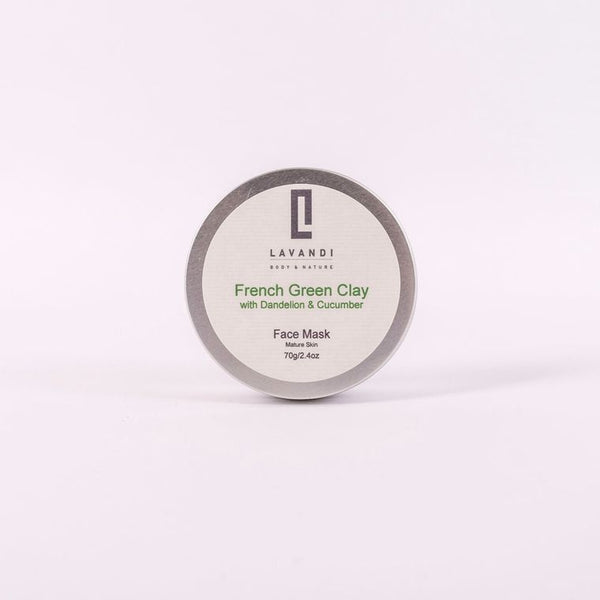 Lavandi Natural Clay Face Mask with French Green Clay Dandelion & Cucumber