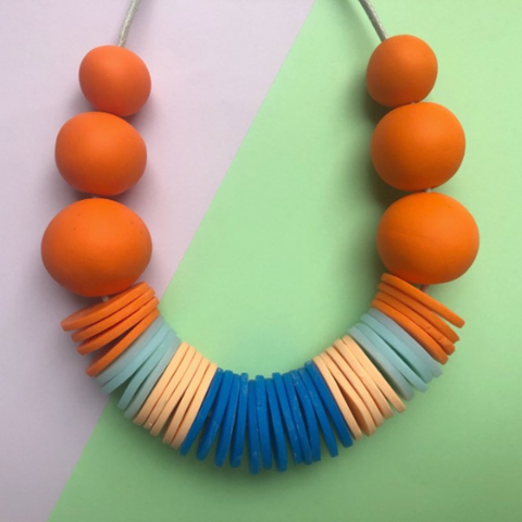 Nine Angels Orange Blue & Peach Disc Necklace