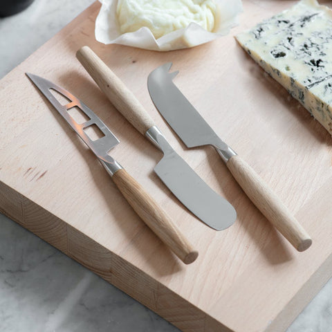 Cheese Knives Set of 3 - Oak