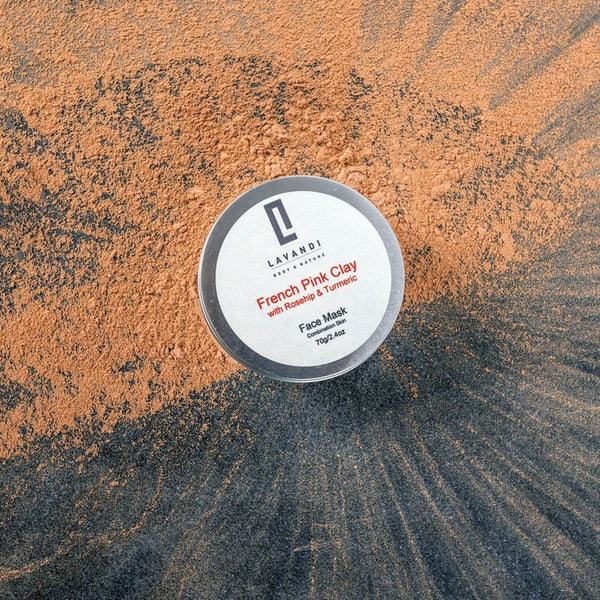 Lavandi Natural Clay Face Mask with French Pink Clay Rosehip & Turmeric