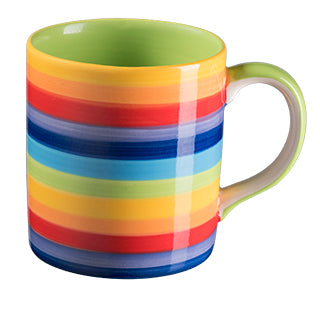 Rainbow Stripe Ceramic Mug 9x8 cm