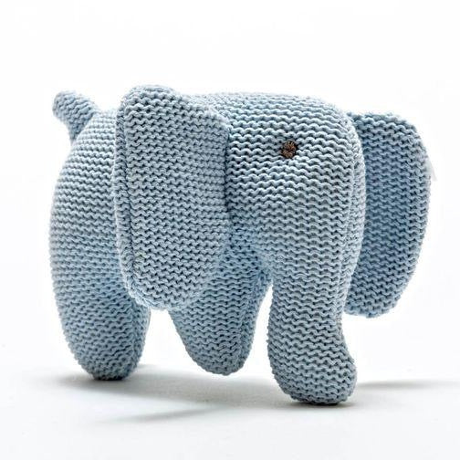 Knitted Pastel Blue Elephant Rattle