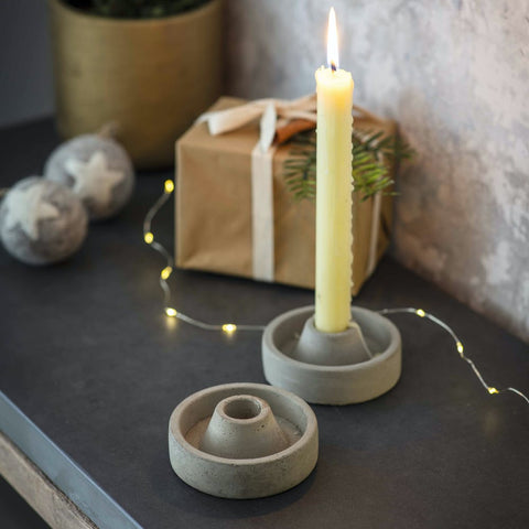 Cement Candle Holder Set of 2