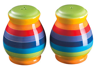 Rainbow Stripe Ceramic Salt & Pepper Set