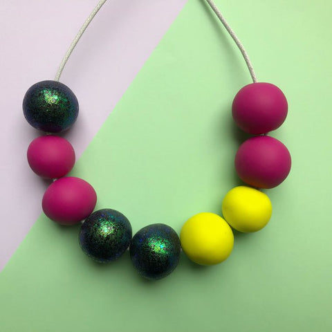 Nine Angels Pink Yellow & Glitter Clay Bead Necklace