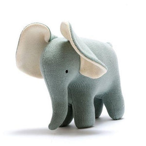 Organic Cotton Knitted Large Elephant Teal