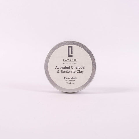 Lavandi Natural Clay Face Mask with Activated Charcoal & Bentonite Clay